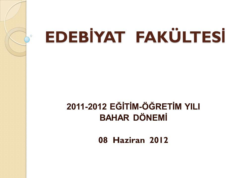 EDEB İ YAT FAKÜLTES İ 2011-2012 EĞİTİM-ÖĞRETİM YILI BAHAR DÖNEMİ 08 Haziran 2012