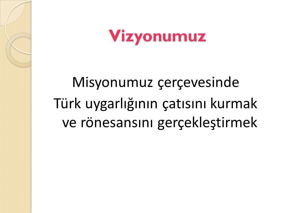 Vizyonumuz Misyonumuz çerçevesinde Türk uygarlığının çatısını kurmak ve rönesansını gerçekleştirmek