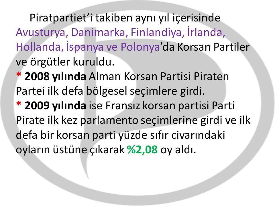 Piratpartiet'i takiben aynı yıl içerisinde Avusturya, Danimarka, Finlandiya, İrlanda, Hollanda, İspanya ve Polonya'da Korsan Partiler ve örgütler kuru