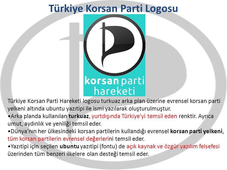 Türkiye Korsan Parti Logosu Türkiye Korsan Parti Hareketi logosu turkuaz arka plan üzerine evrensel korsan parti yelkeni altında ubuntu yazıtipi ile i