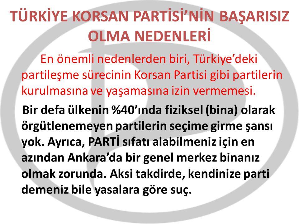 TÜRKİYE KORSAN PARTİSİ'NİN BAŞARISIZ OLMA NEDENLERİ En önemli nedenlerden biri, Türkiye'deki partileşme sürecinin Korsan Partisi gibi partilerin kurul
