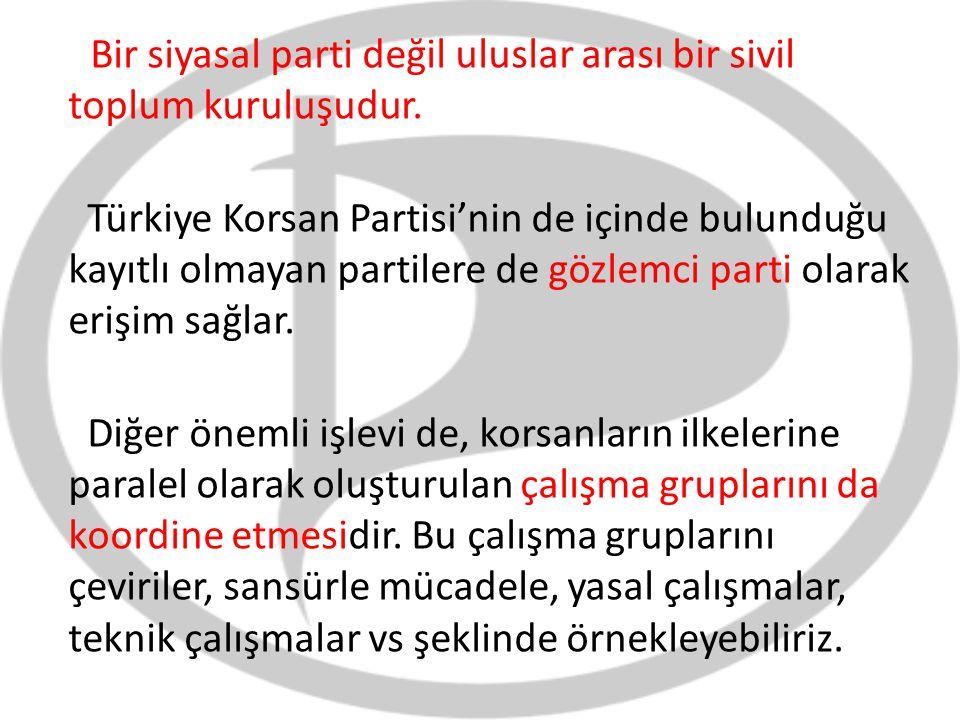 Bir siyasal parti değil uluslar arası bir sivil toplum kuruluşudur. Türkiye Korsan Partisi'nin de içinde bulunduğu kayıtlı olmayan partilere de gözlem