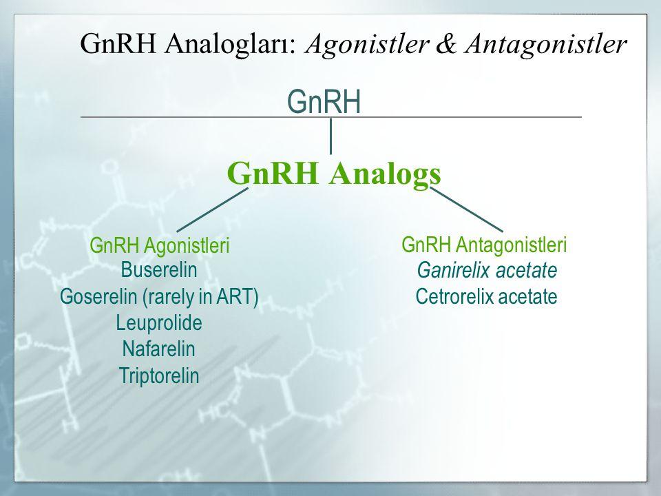 GnRH Analogları: Agonistler & Antagonistler GnRH Analogs GnRH Agonistleri GnRH Antagonistleri Buserelin Goserelin (rarely in ART) Leuprolide Nafarelin Triptorelin Ganirelix acetate Cetrorelix acetate GnRH