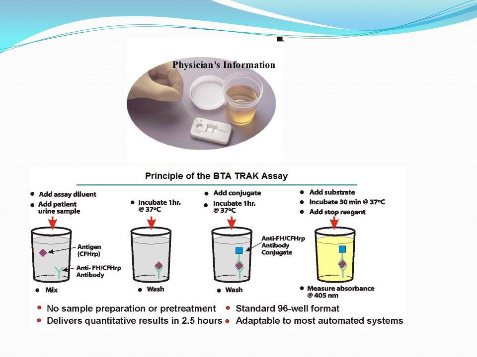 UCYT Monoklonal antikorlar kullanarak ürotelyal kanser hücrelerinde tümör ilintili antijenlerin görüntülenmesi için kullanılan bir immünositoloji yöntemidir Duyarlılık % 38-100 özgüllük % 75-90 Yanlış pozitif sonuca neden olan durumlar ise BPH, sistit ve mikrohematüridir DD23 Kantitatif ve kalitatif olarak yapılabilir Dd23, kanserli ürotelyumdaki özgün bir antijeni ölçen monoklonal bir antikordur Düşük ve yüksek dereceli tm leri saptamada % 70-80 duyarlılıkta ve ortalama % 60 özgüllüktedir Düşük dereceli tm lerde sitoloji ile birlikte kullanmı duyarlılığı arttırmaktadır