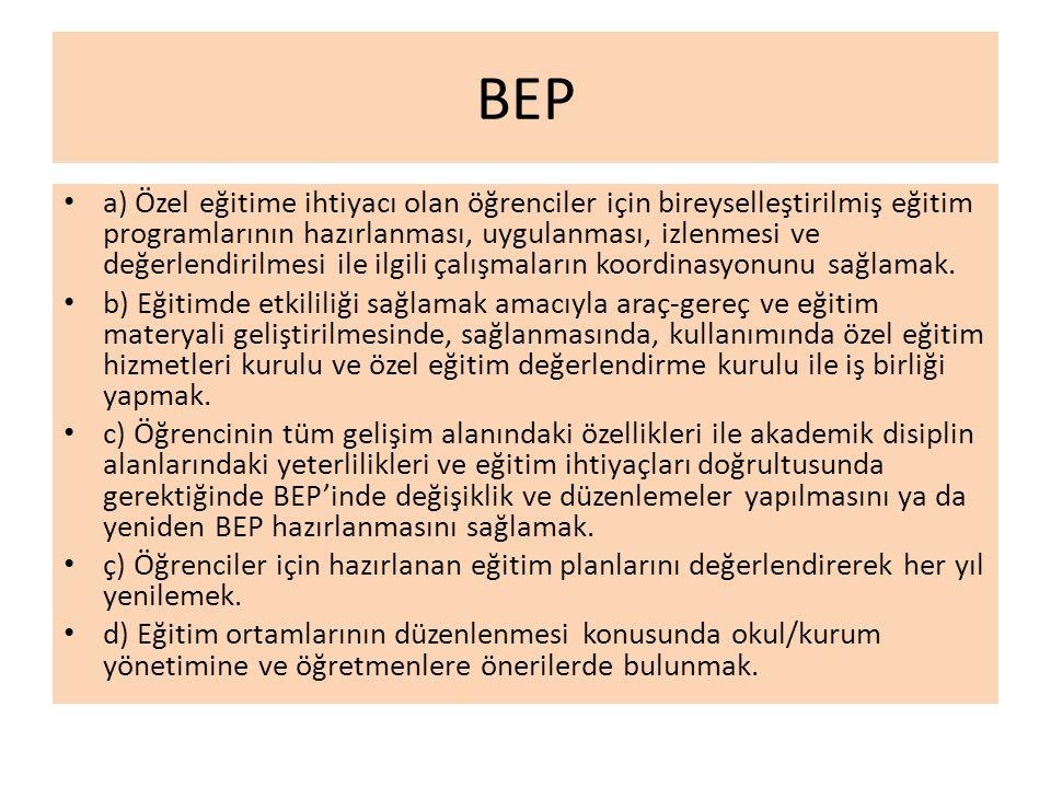BEP a) Özel eğitime ihtiyacı olan öğrenciler için bireyselleştirilmiş eğitim programlarının hazırlanması, uygulanması, izlenmesi ve değerlendirilmesi ile ilgili çalışmaların koordinasyonunu sağlamak.