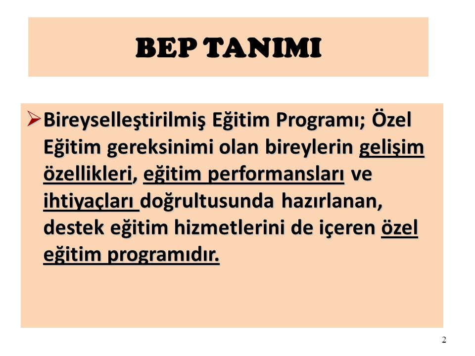 2 BEP TANIMI  Bireyselleştirilmiş Eğitim Programı; Özel Eğitim gereksinimi olan bireylerin gelişim özellikleri, eğitim performansları ve ihtiyaçları
