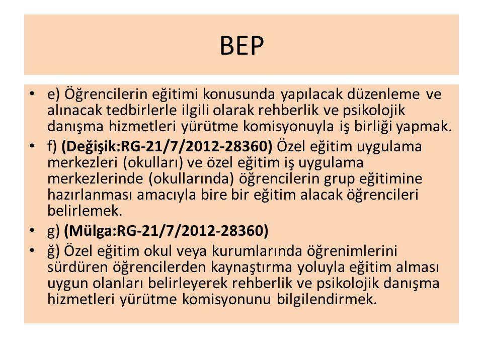 BEP e) Öğrencilerin eğitimi konusunda yapılacak düzenleme ve alınacak tedbirlerle ilgili olarak rehberlik ve psikolojik danışma hizmetleri yürütme komisyonuyla iş birliği yapmak.