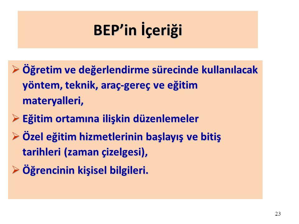 23 BEP'in İçeriği  Öğretim ve değerlendirme sürecinde kullanılacak yöntem, teknik, araç-gereç ve eğitim materyalleri,  Eğitim ortamına ilişkin düzen