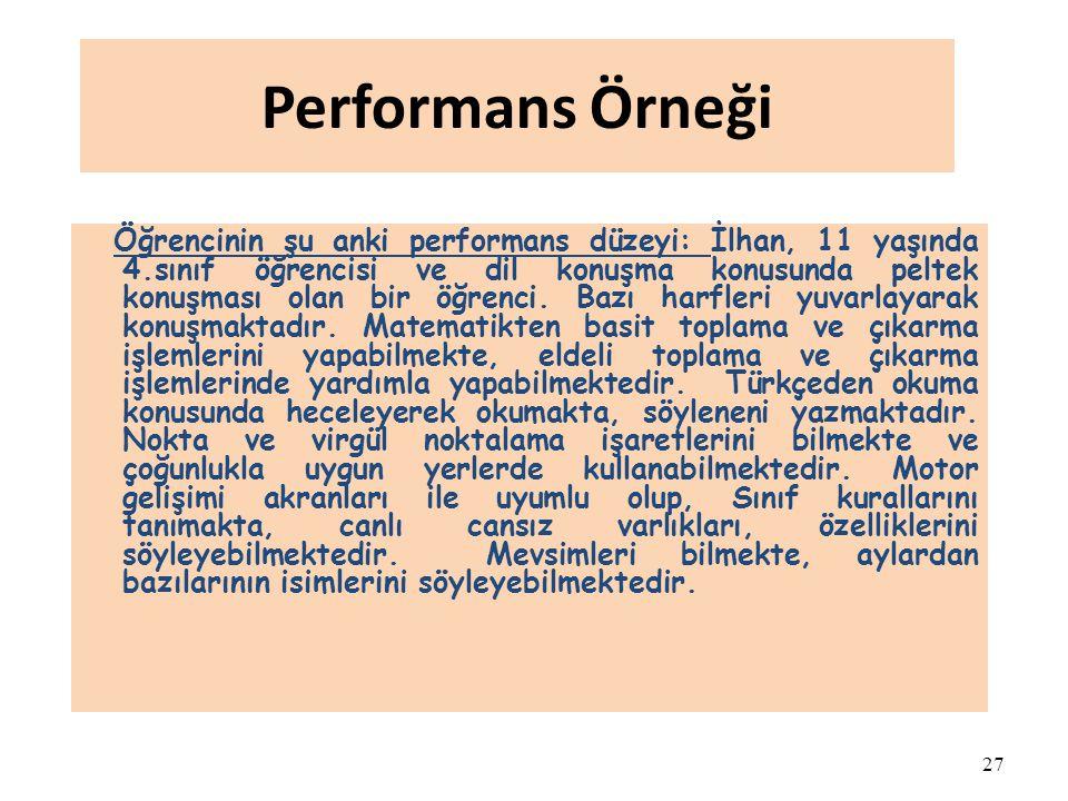 27 Performans Örneği Öğrencinin şu anki performans düzeyi: İlhan, 11 yaşında 4.sınıf öğrencisi ve dil konuşma konusunda peltek konuşması olan bir öğre
