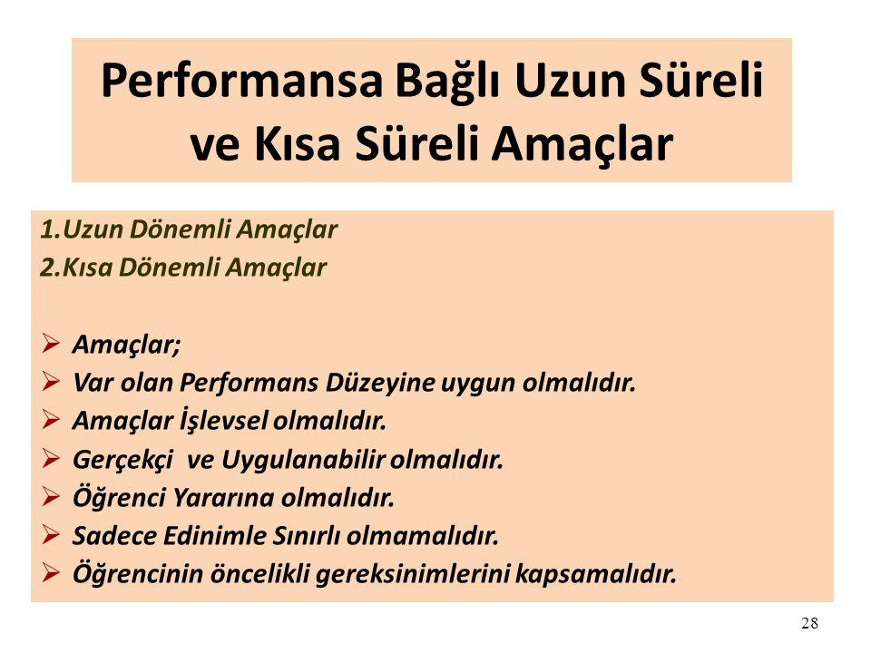 28 Performansa Bağlı Uzun Süreli ve Kısa Süreli Amaçlar 1.Uzun Dönemli Amaçlar 2.Kısa Dönemli Amaçlar  Amaçlar;  Var olan Performans Düzeyine uygun olmalıdır.