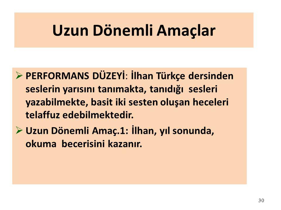 30 Uzun Dönemli Amaçlar  PERFORMANS DÜZEYİ: İlhan Türkçe dersinden seslerin yarısını tanımakta, tanıdığı sesleri yazabilmekte, basit iki sesten oluşan heceleri telaffuz edebilmektedir.