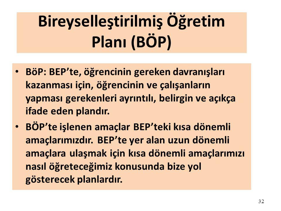 32 Bireyselleştirilmiş Öğretim Planı (BÖP) BöP: BEP'te, öğrencinin gereken davranışları kazanması için, öğrencinin ve çalışanların yapması gerekenleri ayrıntılı, belirgin ve açıkça ifade eden plandır.