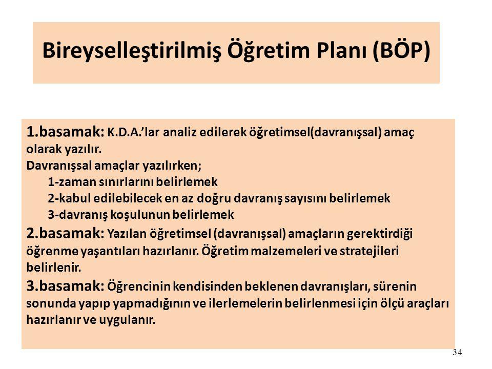34 Bireyselleştirilmiş Öğretim Planı (BÖP) 1.basamak: K.D.A.'lar analiz edilerek öğretimsel(davranışsal) amaç olarak yazılır. Davranışsal amaçlar yazı