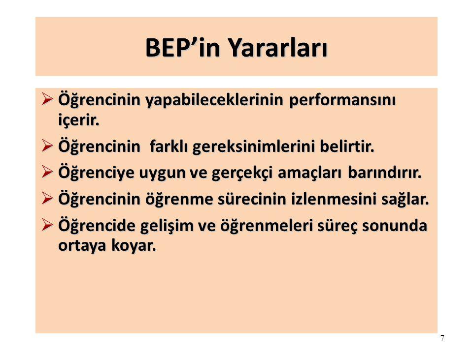 7 BEP'in Yararları  Öğrencinin yapabileceklerinin performansını içerir.  Öğrencinin farklı gereksinimlerini belirtir.  Öğrenciye uygun ve gerçekçi