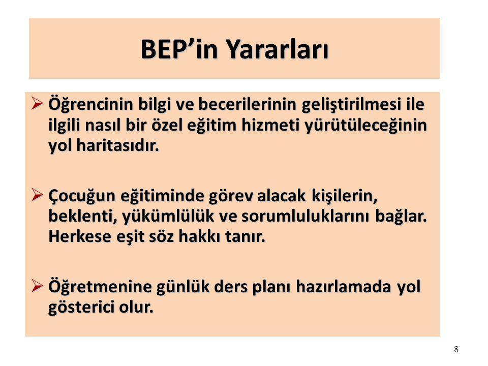 8 BEP'in Yararları  Öğrencinin bilgi ve becerilerinin geliştirilmesi ile ilgili nasıl bir özel eğitim hizmeti yürütüleceğinin yol haritasıdır.
