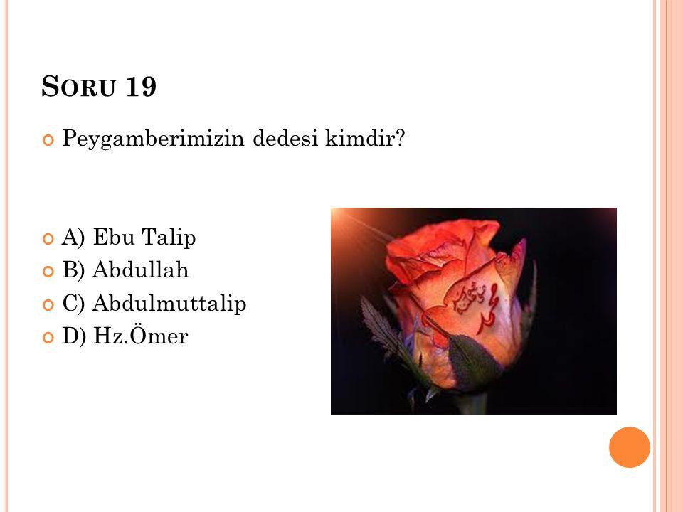 S ORU 19 Peygamberimizin dedesi kimdir? A) Ebu Talip B) Abdullah C) Abdulmuttalip D) Hz.Ömer