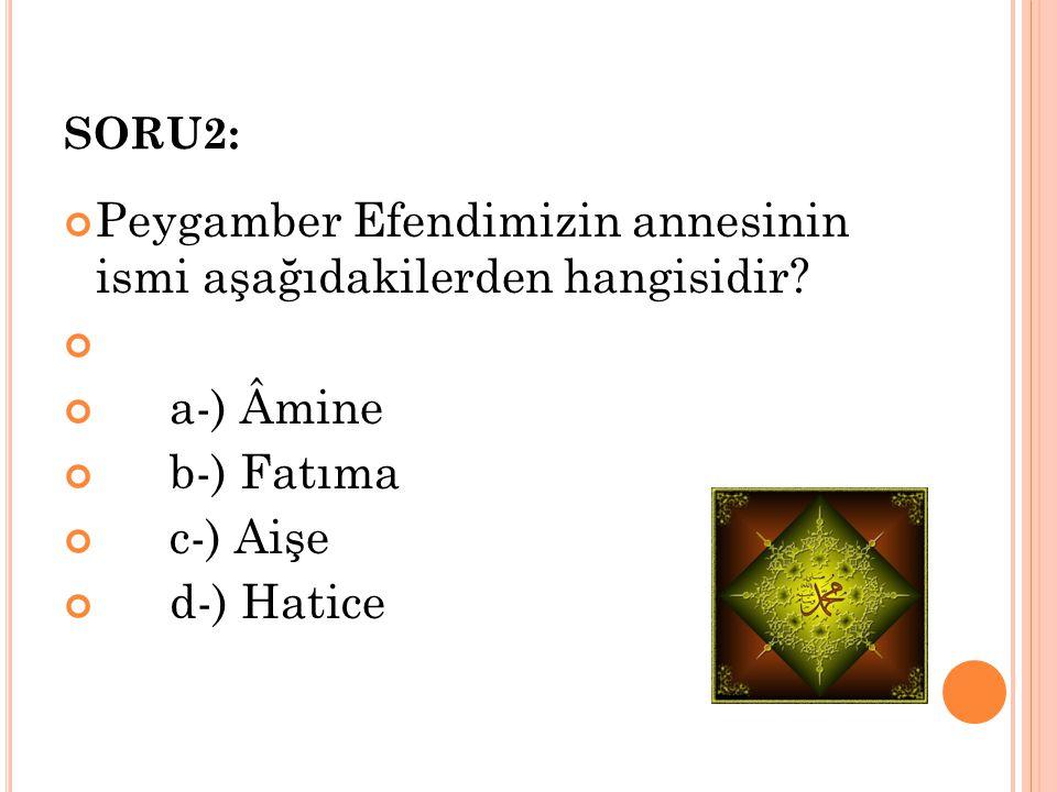 SORU2: Peygamber Efendimizin annesinin ismi aşağıdakilerden hangisidir? a-) Âmine b-) Fatıma c-) Aişe d-) Hatice