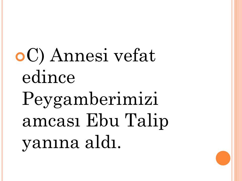 C) Annesi vefat edince Peygamberimizi amcası Ebu Talip yanına aldı.