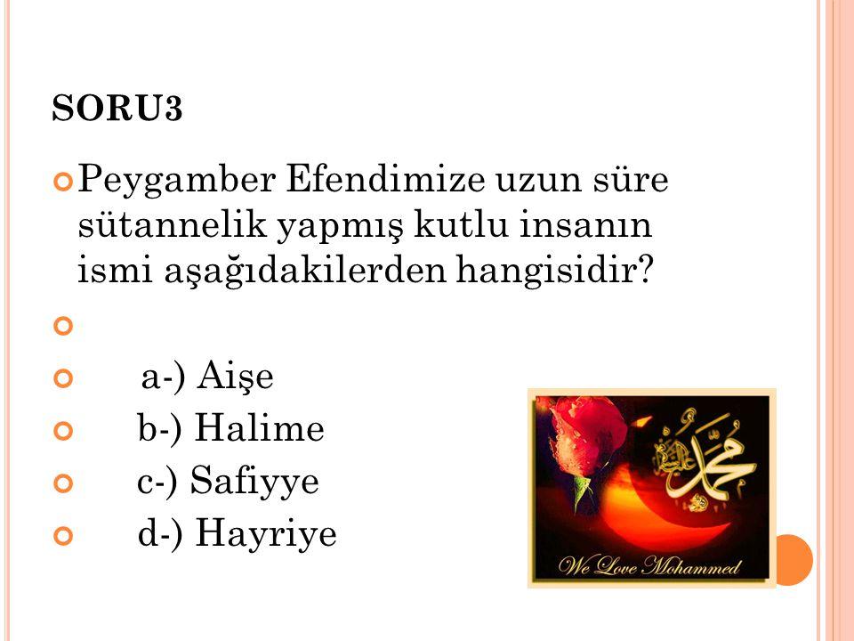 SORU3 Peygamber Efendimize uzun süre sütannelik yapmış kutlu insanın ismi aşağıdakilerden hangisidir? a-) Aişe b-) Halime c-) Safiyye d-) Hayriye