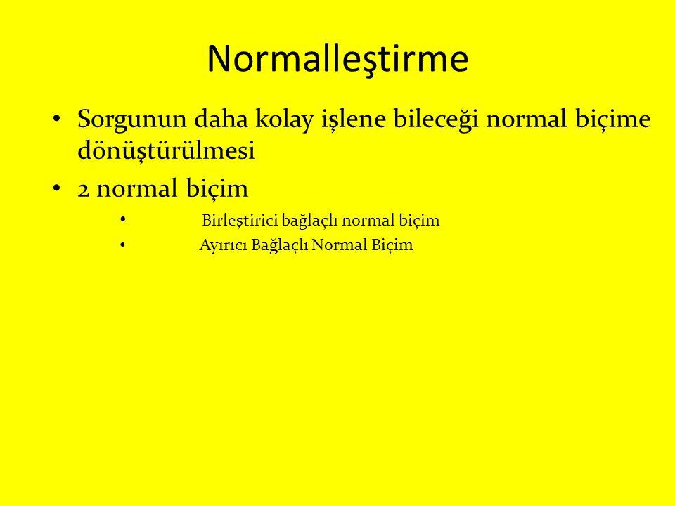 Normalleştirme Sorgunun daha kolay işlene bileceği normal biçime dönüştürülmesi 2 normal biçim Birleştirici bağlaçlı normal biçim Ayırıcı Bağlaçlı Nor