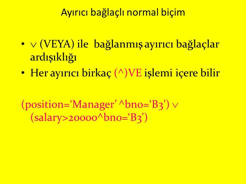 Ayırıcı bağlaçlı normal biçim  (VEYA) ile bağlanmış ayırıcı bağlaçlar ardışıklığı Her ayırıcı birkaç (^)VE işlemi içere bilir (position='Manager' ^bn
