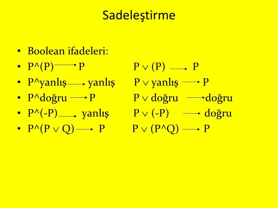 Sadeleştirme Boolean ifadeleri: P^(P) P P  (P) P P^yanlış yanlış P  yanlış P P^doğru P P  doğru doğru P^(-P) yanlış P  (-P) doğru P^(P  Q) P P 