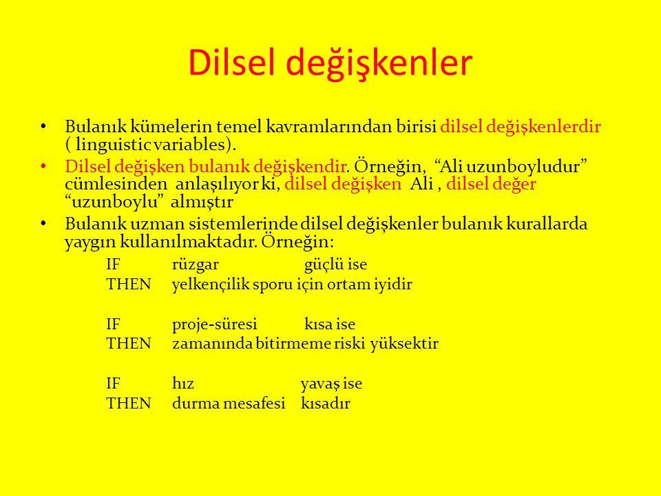 Dilsel değişkenler Bulanık kümelerin temel kavramlarından birisi dilsel değişkenlerdir ( linguistic variables). Dilsel değişken bulanık değişkendir. Ö
