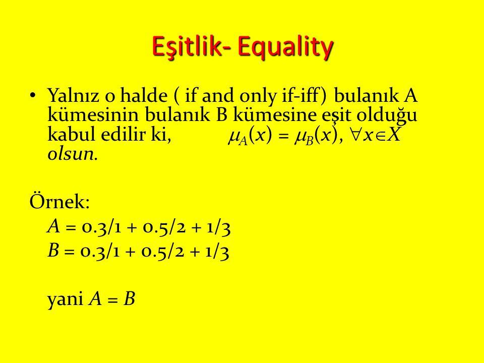 Eşitlik- Equality Yalnız o halde ( if and only if-iff) bulanık A kümesinin bulanık B kümesine eşit olduğu kabul edilir ki,  A (x) =  B (x),  x  X