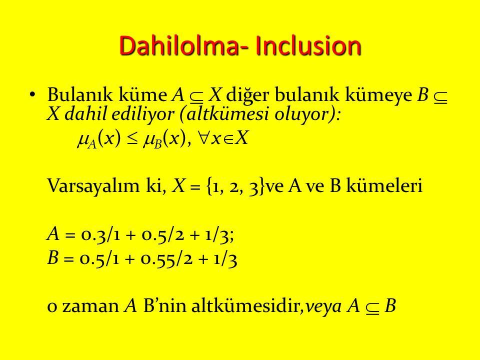 Dahilolma- Inclusion Bulanık küme A  X diğer bulanık kümeye B  X dahil ediliyor (altkümesi oluyor):  A (x)   B (x),  x  X Varsayalım ki, X = {1