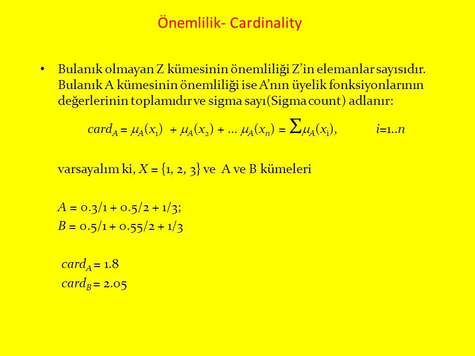 Önemlilik- Cardinality Bulanık olmayan Z kümesinin önemliliği Z'in elemanlar sayısıdır. Bulanık A kümesinin önemliliği ise A'nın üyelik fonksiyonların