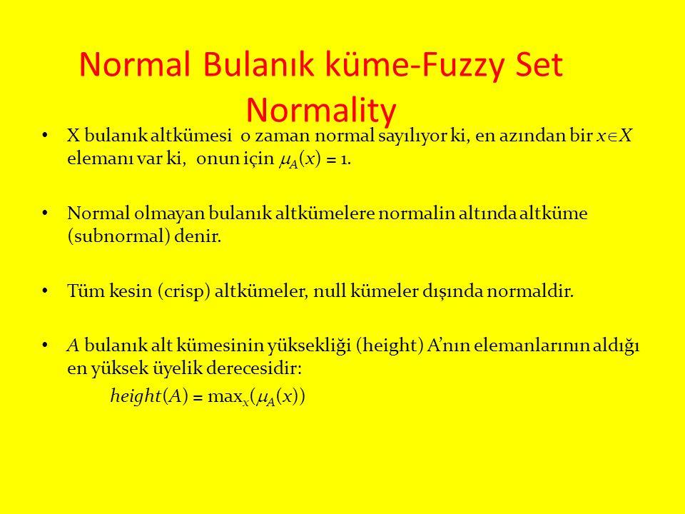 Normal Bulanık küme-Fuzzy Set Normality X bulanık altkümesi o zaman normal sayılıyor ki, en azından bir x  X elemanı var ki, onun için  A (x) = 1. N