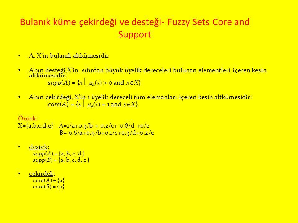 Bulanık küme çekirdeği ve desteği- Fuzzy Sets Core and Support A, X'in bulanık altkümesidir. A'nın desteği,X'in, sıfırdan büyük üyelik dereceleri bulu