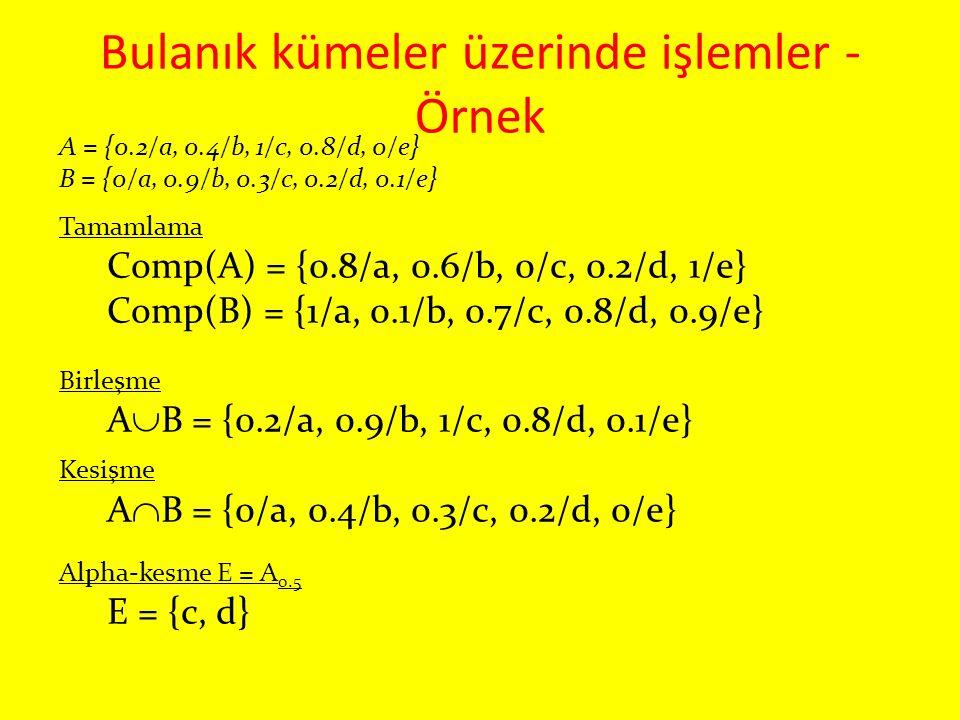Bulanık kümeler üzerinde işlemler - Örnek A = {0.2/a, 0.4/b, 1/c, 0.8/d, 0/e} B = {0/a, 0.9/b, 0.3/c, 0.2/d, 0.1/e} Tamamlama Comp(A) = {0.8/a, 0.6/b,