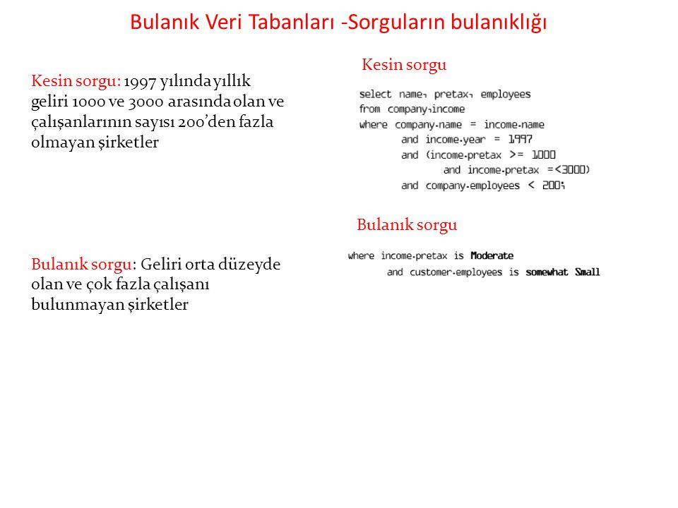 Bulanık Veri Tabanları -Sorguların bulanıklığı Kesin sorgu: 1997 yılında yıllık geliri 1000 ve 3000 arasında olan ve çalışanlarının sayısı 200'den faz