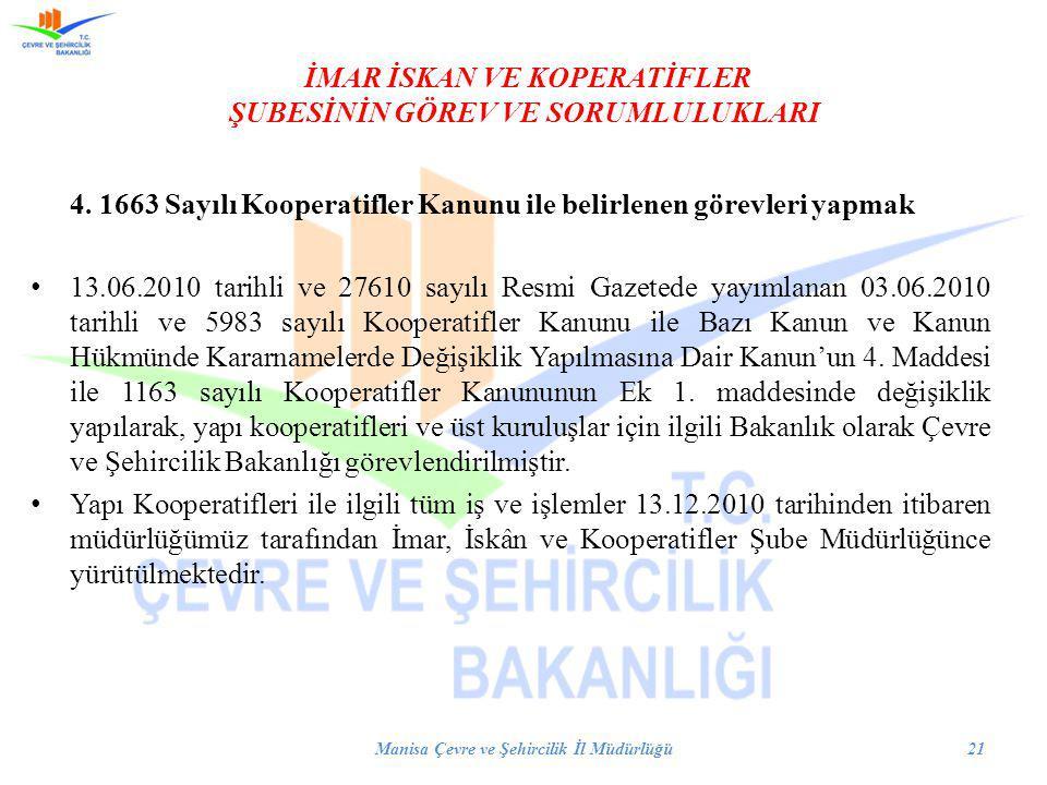 İMAR İSKAN VE KOPERATİFLER ŞUBESİNİN GÖREV VE SORUMLULUKLARI 4. 1663 Sayılı Kooperatifler Kanunu ile belirlenen görevleri yapmak 13.06.2010 tarihli ve