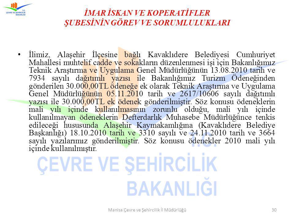 İMAR İSKAN VE KOPERATİFLER ŞUBESİNİN GÖREV VE SORUMLULUKLARI İlimiz, Alaşehir İlçesine bağlı Kavaklıdere Belediyesi Cumhuriyet Mahallesi muhtelif cadd