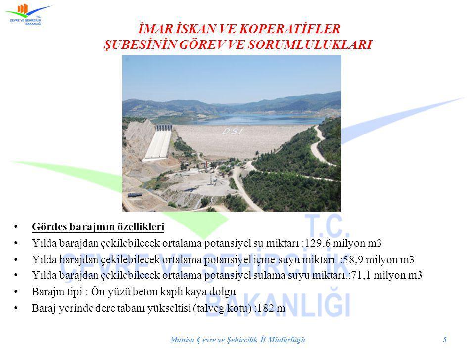 İMAR İSKAN VE KOPERATİFLER ŞUBESİNİN GÖREV VE SORUMLULUKLARI Gördes barajının özellikleri Yılda barajdan çekilebilecek ortalama potansiyel su miktarı