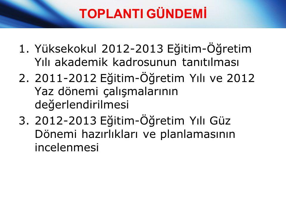 TOPLANTI GÜNDEMİ 1.Yüksekokul 2012-2013 Eğitim-Öğretim Yılı akademik kadrosunun tanıtılması 2.2011-2012 Eğitim-Öğretim Yılı ve 2012 Yaz dönemi çalışma