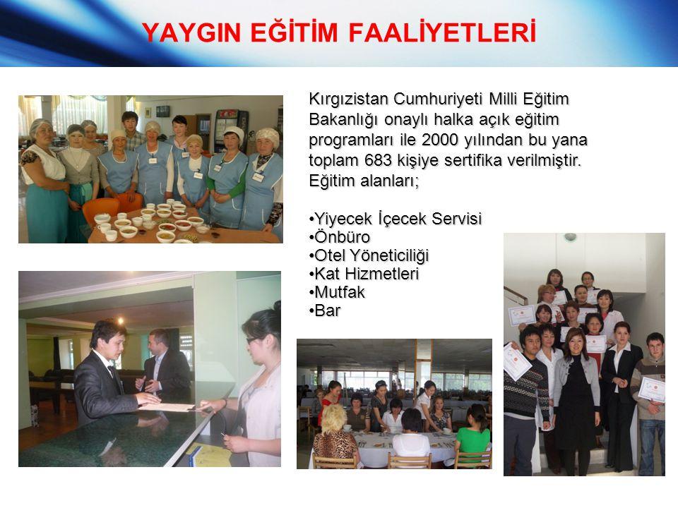 YAYGIN EĞİTİM FAALİYETLERİ Kırgızistan Cumhuriyeti Milli Eğitim Bakanlığı onaylı halka açık eğitim programları ile 2000 yılından bu yana toplam 683 ki