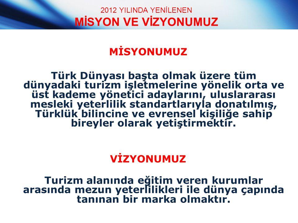 2012 YILINDA YENİLENEN MİSYON VE VİZYONUMUZ MİSYONUMUZ Türk Dünyası başta olmak üzere tüm dünyadaki turizm işletmelerine yönelik orta ve üst kademe yö