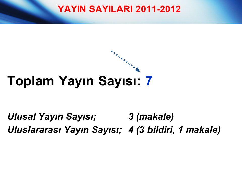 Toplam Yayın Sayısı: 7 Ulusal Yayın Sayısı;3 (makale) Uluslararası Yayın Sayısı;4 (3 bildiri, 1 makale) YAYIN SAYILARI 2011-2012