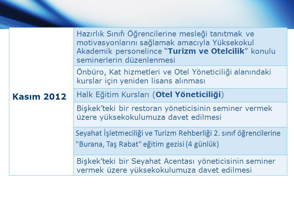 """Kasım 2012 Hazırlık Sınıfı Öğrencilerine mesleği tanıtmak ve motivasyonlarını sağlamak amacıyla Yüksekokul Akademik personelince """"Turizm ve Otelcilik"""""""