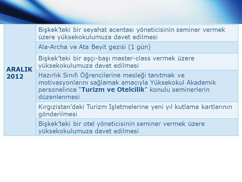 ARALIK 2012 Bişkek'teki bir seyahat acentası yöneticisinin seminer vermek üzere yüksekokulumuza davet edilmesi Ala-Archa ve Ata Beyit gezisi (1 gün) B