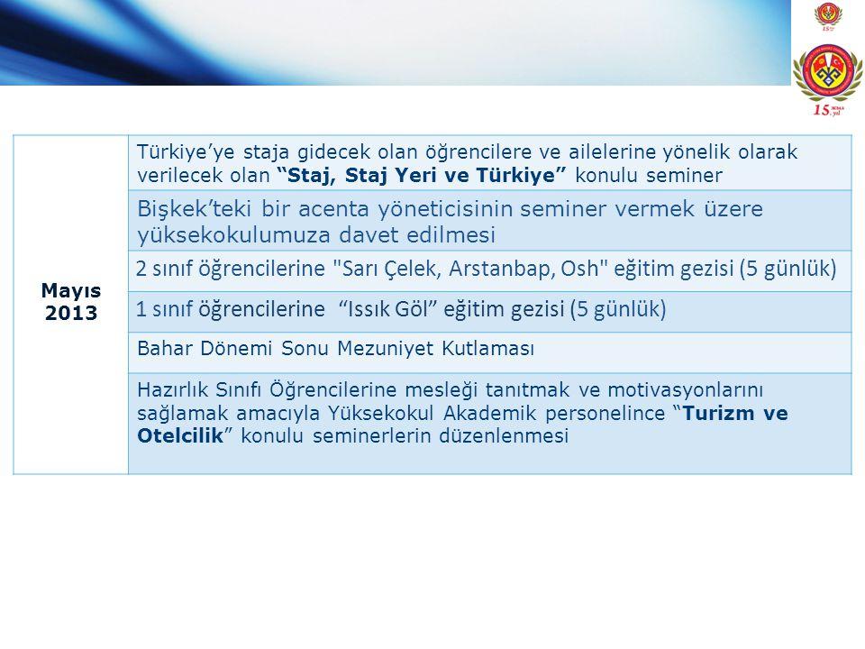 """Mayıs 2013 Türkiye'ye staja gidecek olan öğrencilere ve ailelerine yönelik olarak verilecek olan """"Staj, Staj Yeri ve Türkiye"""" konulu seminer Bişkek'te"""