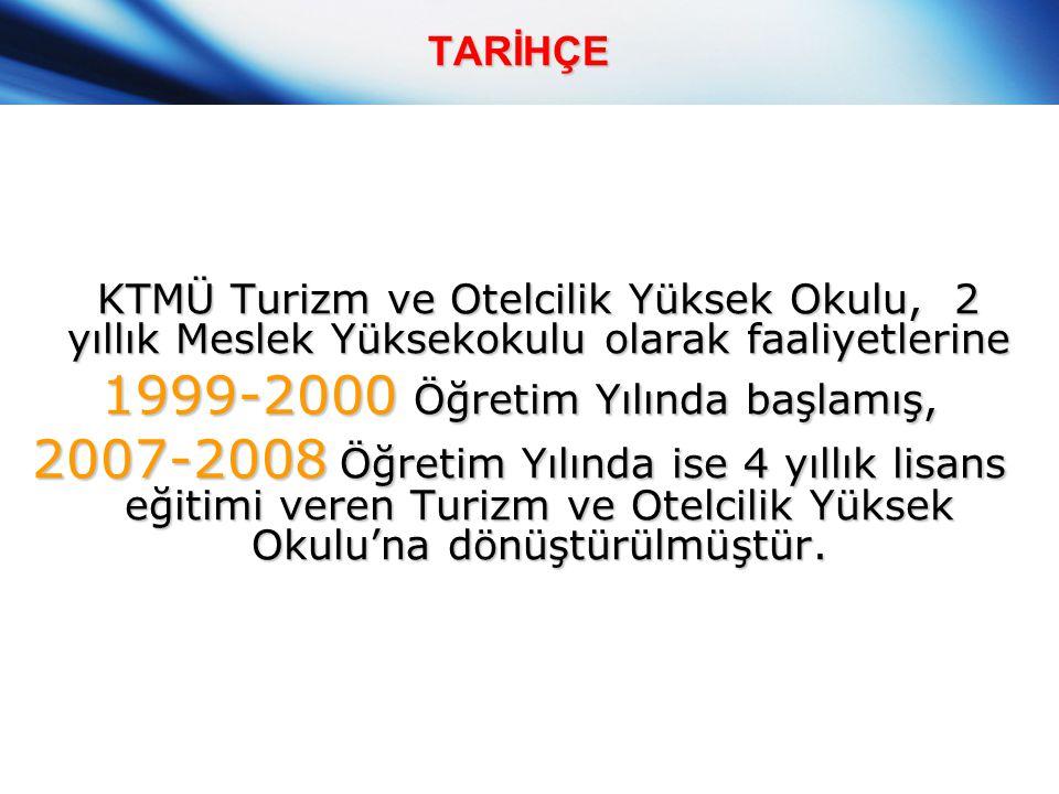 TARİHÇE KTMÜ Turizm ve Otelcilik Yüksek Okulu, 2 yıllık Meslek Yüksekokulu olarak faaliyetlerine 1999-2000 Öğretim Yılında başlamış, 2007-2008 Öğretim