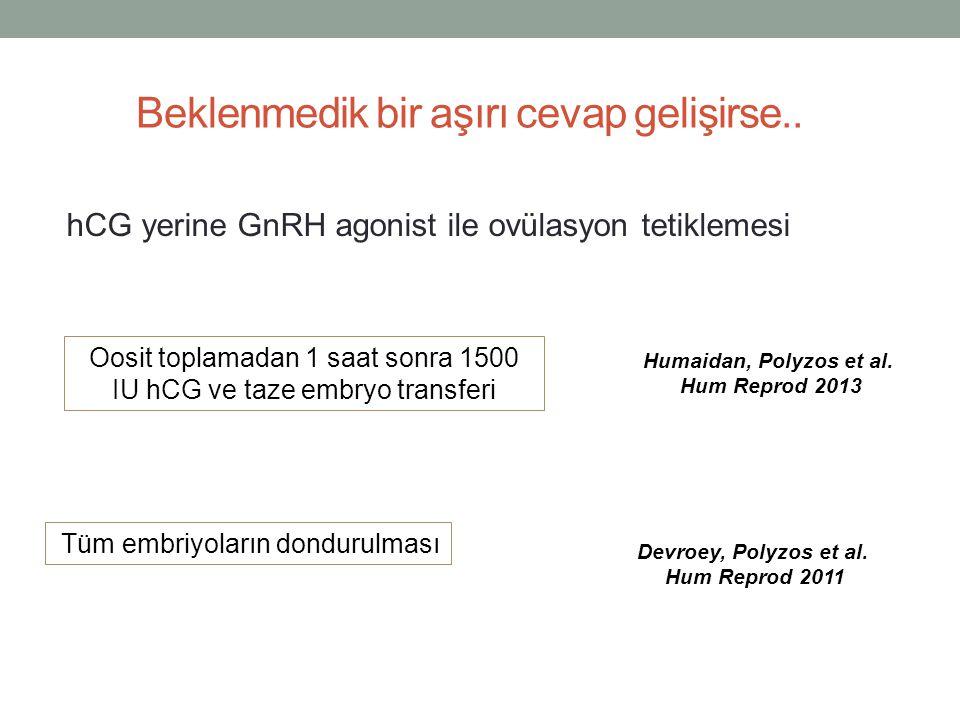 Beklenmedik bir aşırı cevap gelişirse.. hCG yerine GnRH agonist ile ovülasyon tetiklemesi Oosit toplamadan 1 saat sonra 1500 IU hCG ve taze embryo tra