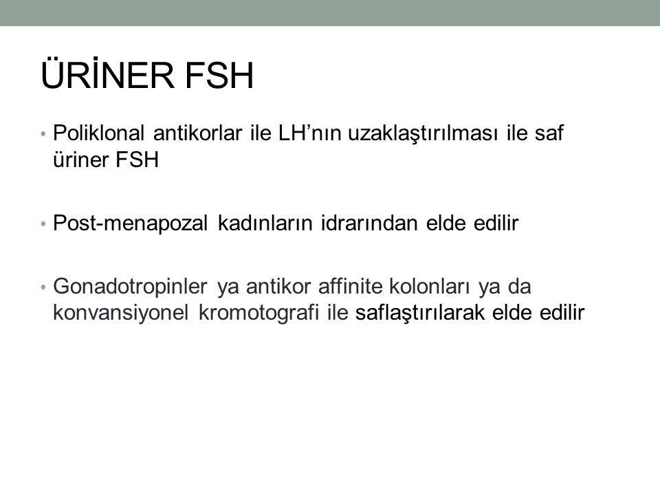 ÜRİNER FSH Poliklonal antikorlar ile LH'nın uzaklaştırılması ile saf üriner FSH Post-menapozal kadınların idrarından elde edilir Gonadotropinler ya an