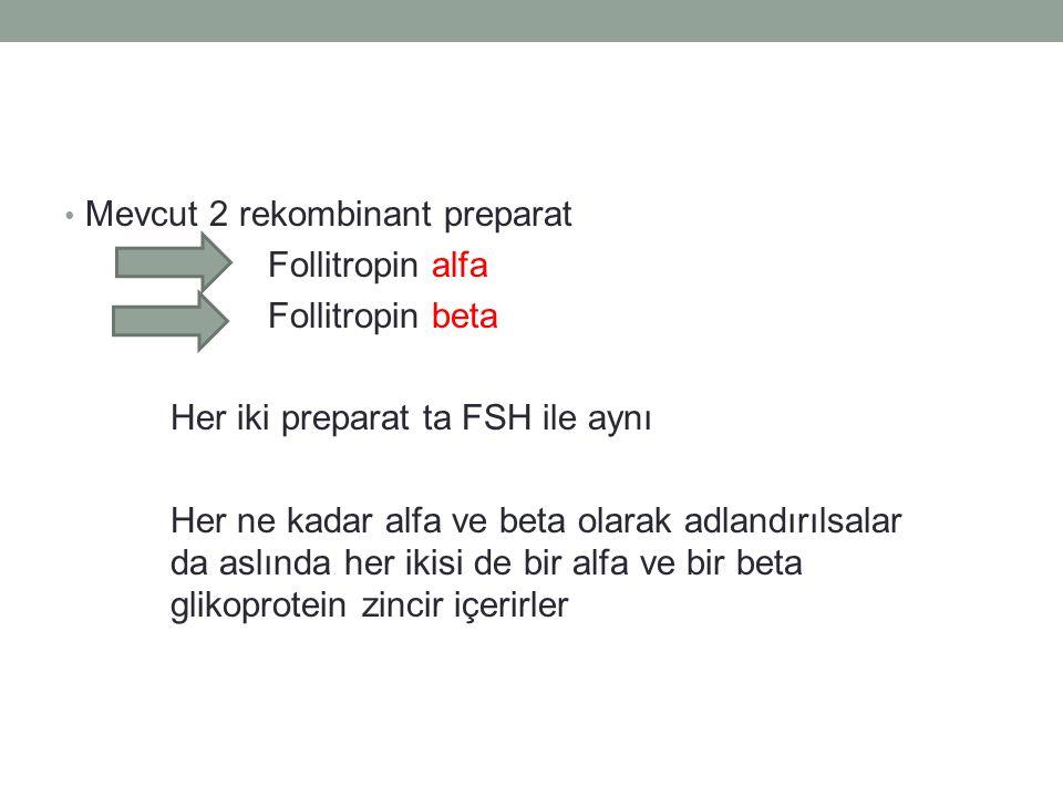 Mevcut 2 rekombinant preparat Follitropin alfa Follitropin beta Her iki preparat ta FSH ile aynı Her ne kadar alfa ve beta olarak adlandırılsalar da a