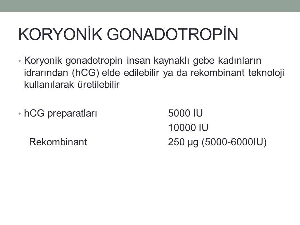 KORYONİK GONADOTROPİN Koryonik gonadotropin insan kaynaklı gebe kadınların idrarından (hCG) elde edilebilir ya da rekombinant teknoloji kullanılarak ü