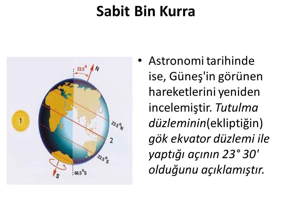 Sabit Bin Kurra Astronomi tarihinde ise, Güneş'in görünen hareketlerini yeniden incelemiştir. Tutulma düzleminin(ekliptiğin) gök ekvator düzlemi ile y